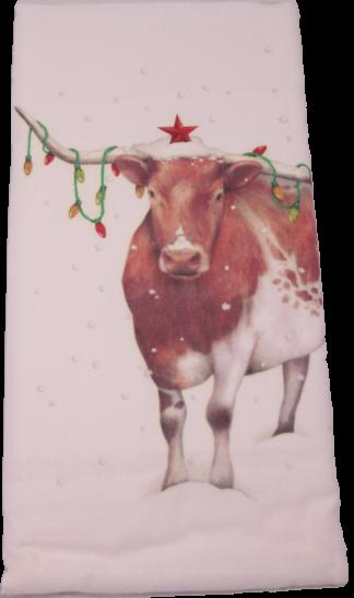 Longhorn Christmas Steer Printed Flour Sack Dish Towel